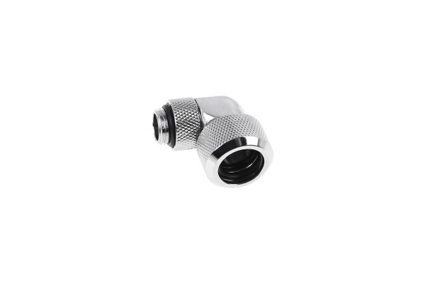 Alphacool Eiszapfen 16mm HardTube compression fitting 90° rotatable G1/4 for plexi- brass tubes (rigid or hard tubes) - knurled - chrome