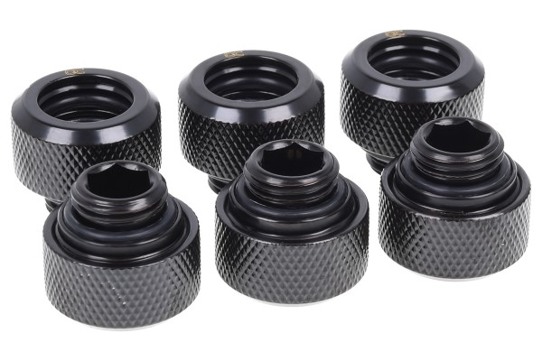 Alphacool Eiszapfen 13mm HardTube compression fitting G1/4 - knurled - deep black sixpack