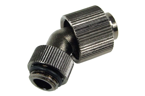 16/13mm compression fitting 45° revolvable G1/4 - knurled - black nickel